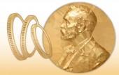 Nobel Economy award gold polygonal medal and coins symbol