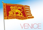 Venice city flag Veneto Italy vector illustration