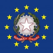 Italy coat of arms on the European Union flag vector illustration