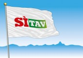 Si Tav movement flag Italy vector illustration