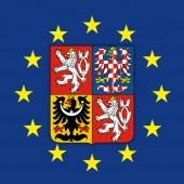 Czech Republic coat of arms on the European Union flag vector illustration