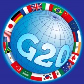 G20 global summit symbol with flags vector illustration