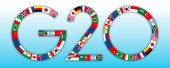 G20 global summit of industrialized countries global symbol with flags vector illustration
