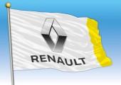 Renault international car industrial group flag with logo illustration