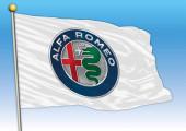 Alfa Romeo international car industrial group flag with logo illustration