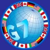 G7 global summit of industrialized countries global symbol with flags vector illustration
