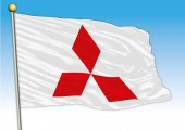 Mitsubishy car industrial group flag with logo illustration