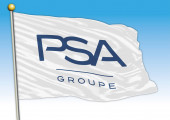 PSA Peugeot car industrial group flag with logo illustration