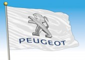 Peugeot car industrial group flag with logo illustration