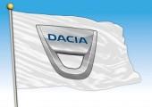 Dacia car industrial group flag with logo illustration