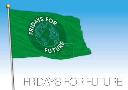 Fridays for Future flag and symbol, editorial, vec...