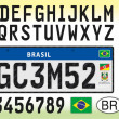 Brazil car license plate template with symbol, let...