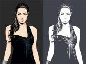 MARCH 02 2019: A vector illustration of a portrait of American actress filmmaker and humanitarian Angelina Jolie