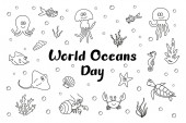 Cute smiling sea creatures with seashells algae and bubbles; Black outline isolated on white background with handwritten text World Oceans Day; Funny doodle outline drawing; Hand drawn sketch; Vector