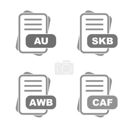 Illustration pour Ensemble d'icônes de format de fichier - image libre de droit