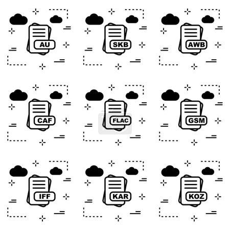 Illustration pour Ensemble de Format de fichier Pixel Perfect Icon - image libre de droit