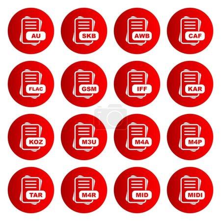 Illustration pour Ensemble d'icônes de format de fichier, illustration vectorielle - image libre de droit