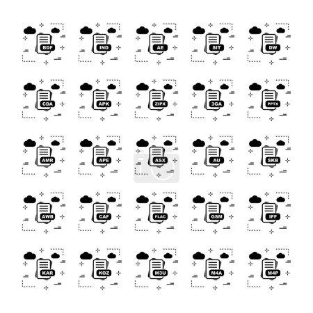 Illustration pour Ensemble d'icônes de format de fichier vectoriel - image libre de droit