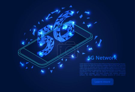 Photo for Abstract 5G network mobile data transmission. New wireless internet wifi connection. isometric vector concept. - Royalty Free Image