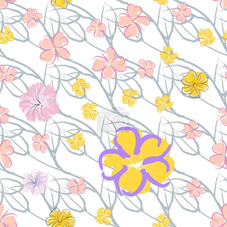 Illustration for Pink Flowers Blooming Pattern. Pastel Watercolor Floral Print. Little Pink, Yellow, Lilac flower on grey leaf. Elegant brush Background. Seamless Botanical Vector Surface. Texture For Fashion Prints. - Royalty Free Image