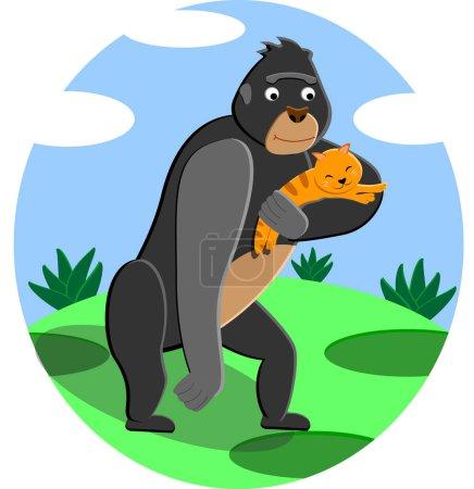 Illustration pour Gorilla Koko est devenue la mère adoptive du chaton. Carte de vœux du jour de l'amitié, joyeuse fête de l'amitié . - image libre de droit