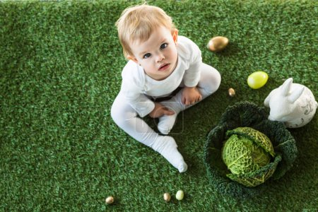Photo for Overhead view of adorable child sitting near Easter eggs, decorative rabbit and savoy cabbage, and looking at camera - Royalty Free Image