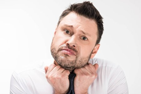 Foto de Chubby man in white shirt looking at camera and adjusting tight tie isolated on white - Imagen libre de derechos