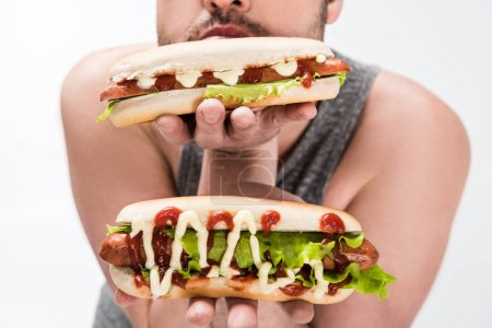 Photo for Cropped view of overweight man holding delicious hot dogs isolated on white - Royalty Free Image