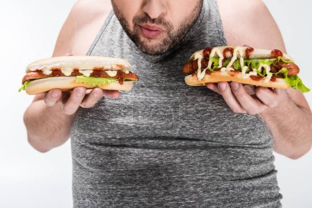 Photo for Partial view of overweight man holding delicious hot dogs isolated on white - Royalty Free Image