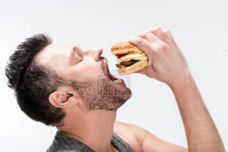 Photo for Side view of chubby bearded man eating delicious burger isolated on white - Royalty Free Image
