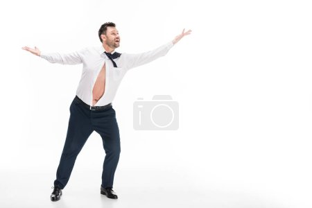 Foto de Overweight man in tight formal wear gesturing and smiling isolated on white with copy space - Imagen libre de derechos