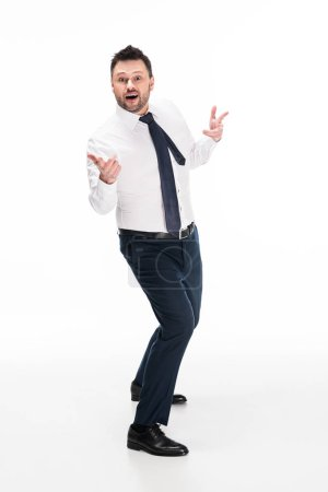 Photo for Excited chubby man in formal wear gesturing with hands and looking at camera isolated on white - Royalty Free Image
