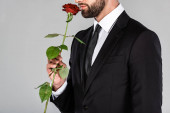 """Постер, картина, фотообои """"partial view of elegant handsome businessman in black suit smelling red rose isolated on grey"""""""