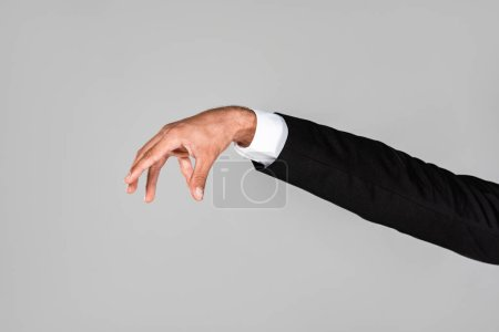 Photo for Cropped view of businessman hand gesturing isolated on grey - Royalty Free Image