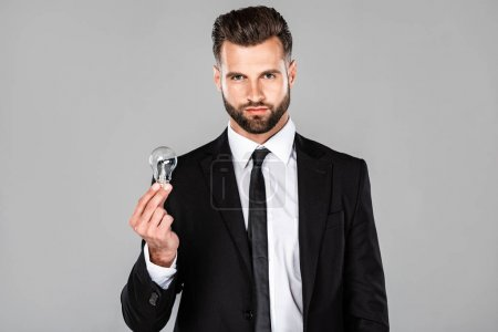 Photo for Successful businessman in black suit holding light bulb isolated on grey - Royalty Free Image
