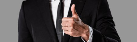 Photo for Cropped view of businessman in black suit showing thumb up isolated on grey, panoramic shot - Royalty Free Image