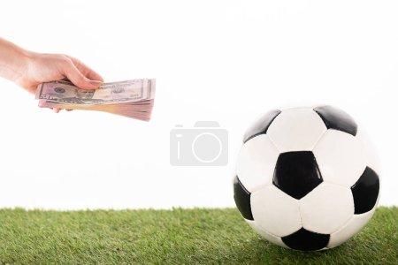 Photo pour Crochet de la main d'une femme avec des billets de banque en dollars près d'un ballon de soccer sur gazon vert isolé sur blanc, concept de pari sportif - image libre de droit