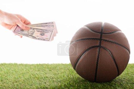 abgeschnittene Ansicht der weiblichen Hand mit Dollarnoten in der Nähe von Basketball-Ball auf grünem Gras isoliert auf weißem, Sportwetten-Konzept
