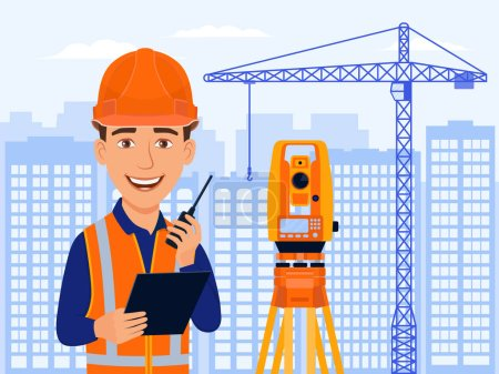 Agrimensor, ingeniero catastral, cartógrafo, personaje de la sonrisa de dibujos animados con equipo total de estación y medidas. Vistas a la ciudad, casas, grúa de construcción. Ilustración plana del vector .