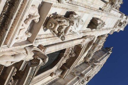 Photo for Closeup of Duomo di Milano - gothic cathedral in Milan, Italy - Royalty Free Image