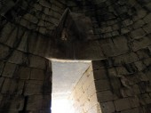 Greece, Mycenae, strange window over the passageto the tomb of Agamemnon