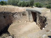 Europe, Greece, Mycenae, the tomb of the ancient ruler with the collapsed vault.Ancient people attached great importance to the afterlife.
