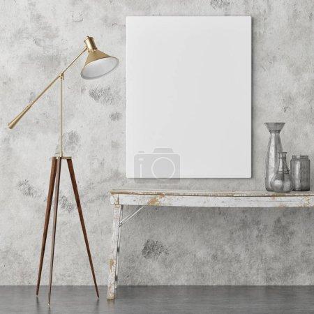 Photo pour Affiche maquillée, design d'intérieur rétro, lampe, vieille table et décoration, rendu 3d, illustration 3d - image libre de droit