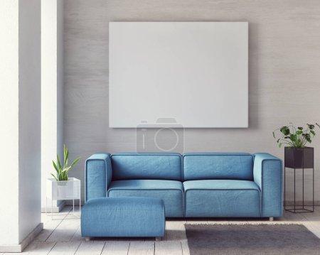 Foto de Simulacros de cartel, minimalismo salón con cómodo sofá, render 3d, Ilustración 3d - Imagen libre de derechos