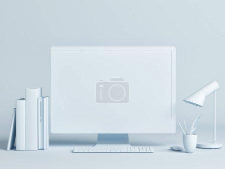 Computer mock up minimal design concept, 3d illustration