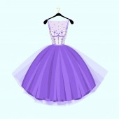 Violet Party dress  Vintage style party dress with flowers decorationVector illustration Fashion couture dress