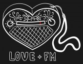 Sketch of cute radio in form of heart Picture for teenager t-shirt or fabric Vector