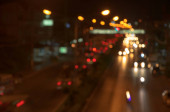Out of focus traffic and lights in night time
