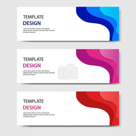 Horizontal banners with 3D abstract paper cut styl...