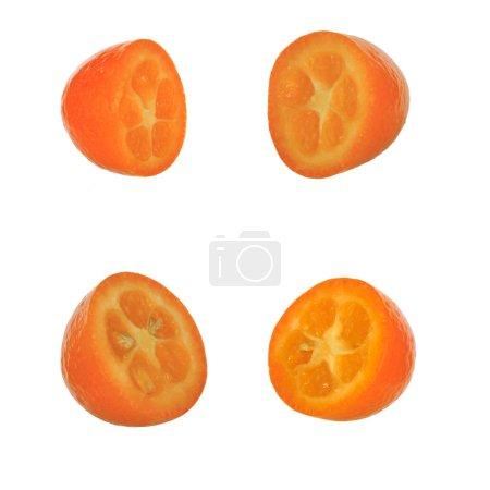 Photo pour Ensemble de fruits exotiques frais kumquat isolé sur fond blanc - image libre de droit